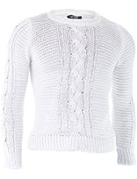 D&R Fashion Hommes Sweatshirt Pull en maille torsadée hiver vêtements élégants vêtements décontractés