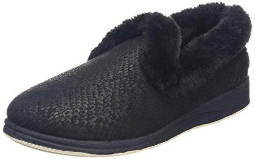 Padders Damen Luxury Flache Hausschuhe, Blacks Black (56 Black)
