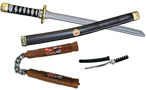 a Kinder - Set 4 Teilig Ninja Schwert , Dolch , Nunchako für Karneval , Fasching , Verkleiden ()