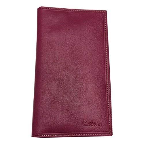 Katana Alles In Einem, Tür Scheckheft, Tür Karten, Brieftasche, Leder weiches Rindsleder Fushia TRES MAT