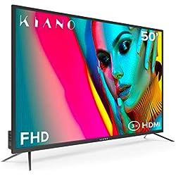 Téléviseur Kiano Slim TV 50 Pouces [127 cm Full HD] (Triple Tuner, DVB-T2, CI+) Lecteur Multimédia Via Port USB, Téléviseur 50 Pouces TV 50 (PVR, Dolby Audio, HDMI, LED, Direct LED, FHD) Énergétique A