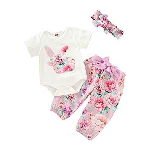 MRURIC Bekleidung Kleinkind Infant Baby Ostern Tag Kaninchen Print Jumpsuit Strampler + Hosen + Stirnband Outfits,Kleider Weste Sommerkleidung Chiffon Spielanzug Kleidung T-Shirt Tops Bluse
