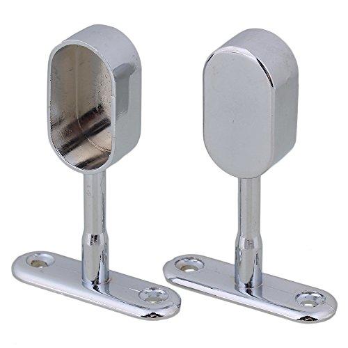 16mm Silber Zink Legierung Bright Chrome Oval Kleiderschrank Stange Stützhalterung Hängende Flansche Packung von 2 stück - 2 Stück Flansch