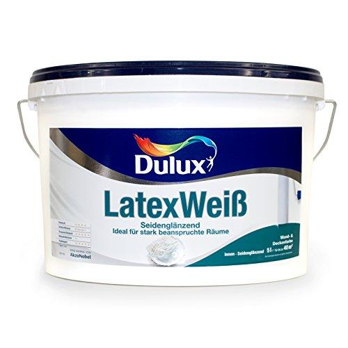 10L Dulux LatexWeiß Seidenglänzend Wand Deckenfarbe Latex Weiß Deckkraft Klasse 2