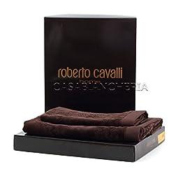 Coppia asciugamani ROBERTO CAVALLI HOME LOGO BROWN