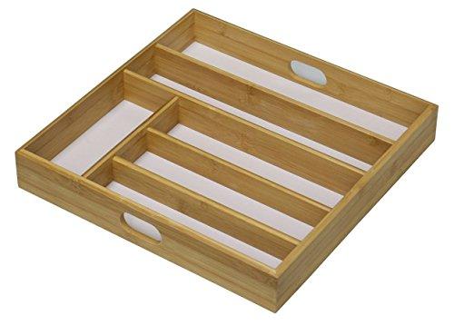 Wooden Cutlery Tray Drawer Organiser Rack 6 Section White Base 38 x 38 cm