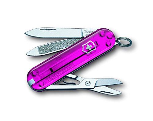 Victorinox Taschenmesser Classic (7 Funktionen, Schere, Nagelfeile mit Nagelreiniger) pink Transparent B1