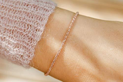 Feine strukturierte diamantierte Silberkette rosé