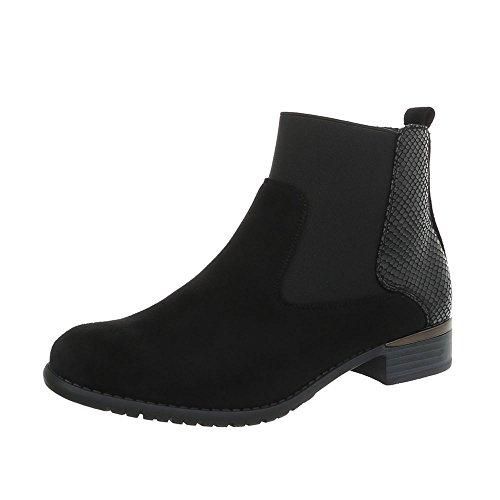 Ital-Design Damenschuhe Stiefeletten Chelsea Boots Synthetik Schwarz Gr. 37 (Eine Richtung Kostüm)