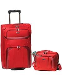 Trolley-Koffer 73 cm + Flugumhänger/Begleiter Rot Serie Orlando von Travelite