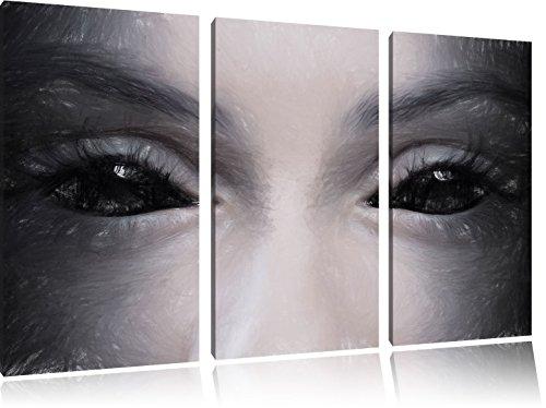 (Böse Dämonenaugen Kunst Buntstift Effekt 3-Teiler Leinwandbild 120x80 Bild auf Leinwand, XXL riesige Bilder fertig gerahmt mit Keilrahmen, Kunstdruck auf Wandbild mit Rahmen, gänstiger als Gemälde oder Ölbild, kein Poster oder Plakat)