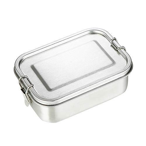 HHFZH 1400 Ml Lunchbox Aus Edelstahl, Einlagig, Für Erwachsene, Auslaufsicher, Rechteckige Bento-Box Für Studenten