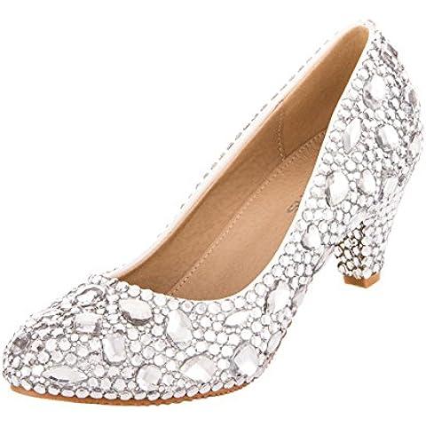 VELCANS Zapatos de Bling Diamantes de Imitación y Medio Tacón de Vestidos pare Boda, Novia, Graduación y Fiesta para