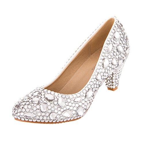 VELCANS Herrlich Strass Mitte Heels Kleid Pumps für Hochzeit, Braut, Party und Prom Damen Schuhe (41, Silber) (Prom Zurück Kleid)