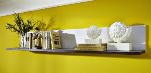 Peter ANLL711041 Wandboard Regal Spiegelboard Hängerregal Bücherregal Wandpaneel freischwebend, Holz, weiß, 27.0 x 175.0 x 25.0 cm