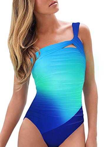 Dokotoo Badeanzug Damen Bauchweg Figurformend Push Up Große Größen Sportlich Beachwear Bademode Strandmode Blau M(EU40-42)