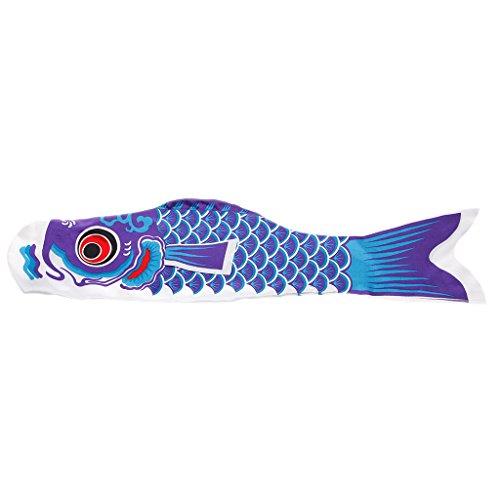 Kofun Bandera De Pescado, Koi Nobori Carp Carp Wind Calcetines Koinobori Coloridos Peces Bandera Colgando Decoración De La Pared Banner Carpa Japonesa 150Cm - Azul