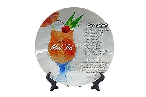 Assiettes Affiche Affiches Recette cocktail Mai Tai imprimées céramique Cuisine