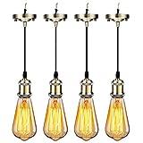 GreenSun LED Lighting 4x Retro E27 Lampenfassung + 40W ST64 Warmweiß E27 Glühbirne Set Edison Fassung E27 Lampe Halter Hängeleuchte Lampenfuß Lampensockel mit Kabel, Bronze