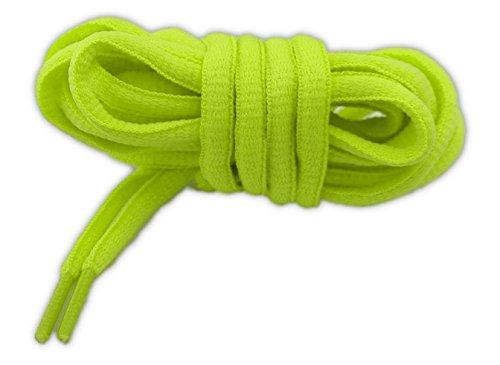 Lacci per calzature sportive, ovali, elevata qualità, 125 cm (giallo fluorescente)