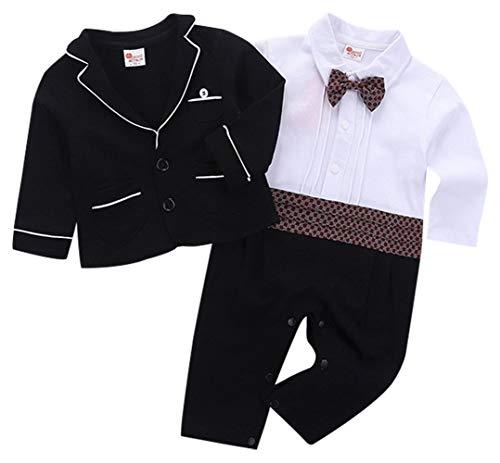cool elves 2tlg Baby-Jungen Bekleidungssets Strampler + Anzug Mantel Gentleman Langarm Einteiler Fliege Hochzeit Taufgeschenk Bowknot Schwarz Größe ()