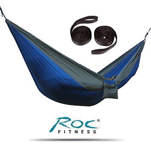 RocFitness® Hängematte aus 100% RipStop Nylon (Fallschirmseide) inkl. 2 Spezialschlaufen für besseren Halt