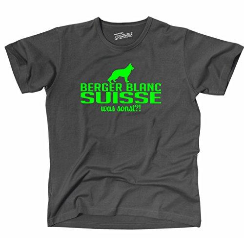 Siviwonder Unisex T-Shirt BERGER BLANC SUISSE WAS SONST?! Wilsigns Hunde Hund fun dark grey - neon grün