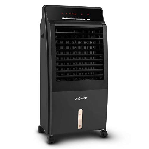 Oneconcept CTR-1 2G • V2 • Raffreddatore d\'aria • Rinfrescatore Ambienti • Ventilatore • Umidificatore Portatile • Ruote e Maniglia • Sistema ad Acqua • 400 m³/h • Filtro Antipolvere • Color Nero