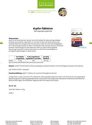 Sanct Bernhard Kupfer-Tabletten - 2mg Kupfer/Tablette - 180 Tabletten