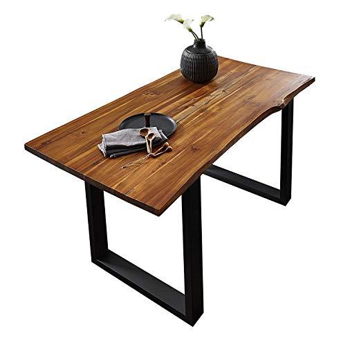 SAM® Élégante table de salle à manger Ida 180x90 cm bois d'acacia, table avec pieds de métal noir, table avec forme naturelle d'arbre
