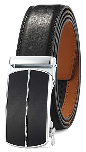GFG Herren Gürtel,Leder Automatik Gürtel Für Herren Jeans Anzug Gürtel-3,5cm Breite-0023-110-Schwarz
