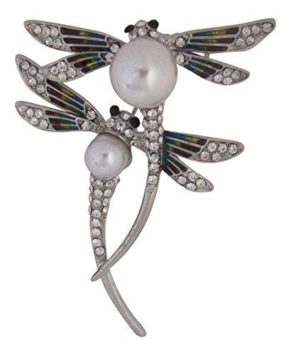 (Brosche Boutique Silber Kristall und Perle mit Brosche Libelle)