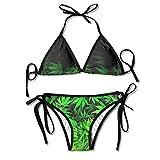 Weed Marijuana Leaf Swimsuits Bikinis Thong Swimsuit for Beach Beach Swimming