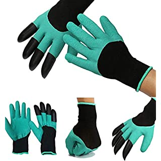 garden gloves for ladies for men heavy duty with claws women thorn proof for Digging & garden gloves for ladies for men heavy duty with claws breathable green nails- 1 pairs (by worldart)