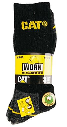 Caterpillar Real Work Arbeitssocken 3er Pack, Chaussettes Homme, Noir (Black), 40/46 (Herstellergröße: 41-45) (Lot de 3)