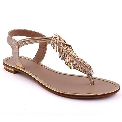 Unze New Women 'Sacha' Leafy Summer Beach Party Rejoindre Carnival Casual Sandales plates Chaussures Taille Or