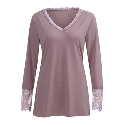 Damenmode Langarm T-Shirt Spitzebluse Casual Langarm Bluse V-Ausschnitt Casual Lose Reine Farbe Tops Shirts Frauen Elegant Lace up Long Sleeve Blusentop Freizeithemd Basic Pyjama (Kaffee,4XL)