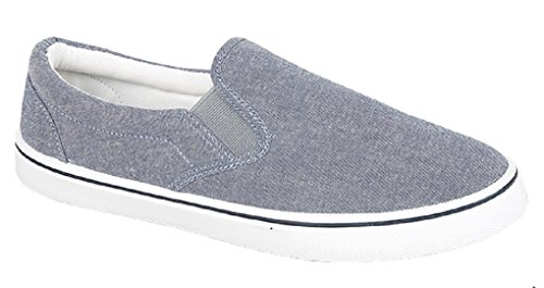 - 41A0zDIKBLL - Mens Slip on Canvas Summer Shoes (9 UK, Denim Grey)