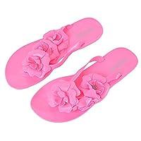 Vertvie Women's Flip Flop Beach Sandals Summer Slipper with Flower Ornament (UK 4/EU 37, Rose)