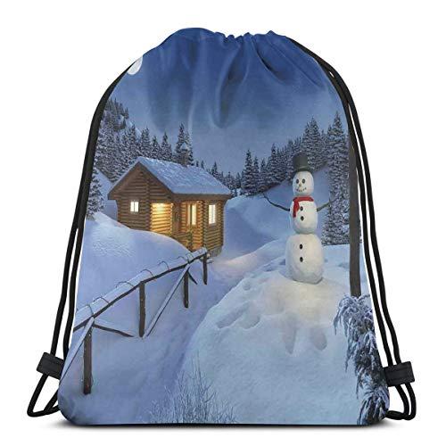 Juziwen Printed Drawstring Backpacks Bags,Wooden Rustic Log Cottage Scenery In The Winter Season Warm Moonlight Spirit,Adjustable String Closure -