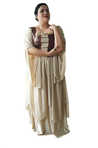 Faschingskostüm große Größen beige (Kleidergröße 56- 58 (10XL-12XL)): Damen Mittelalter Kleid in Übergröße - das perfekte Karnevals ()