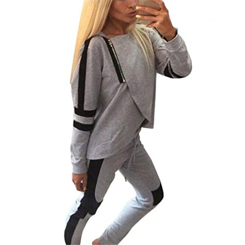 Damen Sweatshirt Longra Frauen Sportswear Zwei Stücke Set Langarm Pullover + Lange Hosen Damen Trainingsanzüge Jogginganzug (L, Gray) (Stück Blouson 2)
