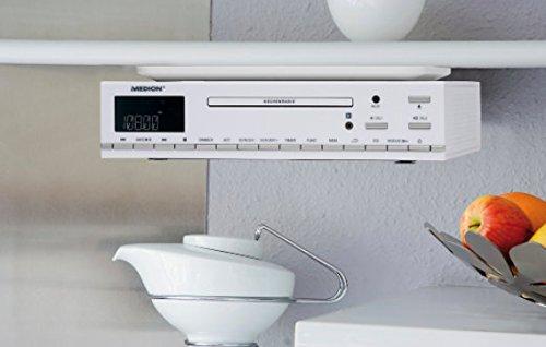 Medion Life E66281 MD 84627 CD-Unterbau UKW Küchenradio (CD-R/CD-RW, Audio-CD, AMS, AUX-Eingang, LC-Display, 64 Senderspeicher) weiß