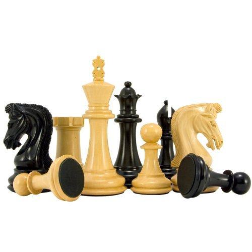 The Regency Chess Company Canterbury Chevalier De Muxe Ébène Échecs Pièces 11.4cm