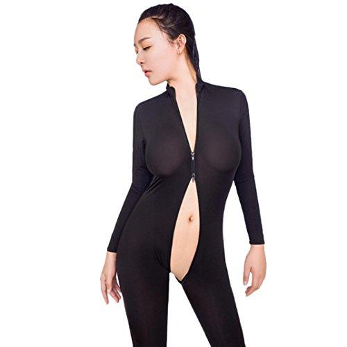Frauen Striped Sexy Bodysuit❤️Vovotrade Reißverschluss Langarm Geöffneter Gabelung Dessous Overall Bodystocking Crotchless Sheer Für Sex (Schwarz, One Size) (Bodystocking Sexy Sheer)