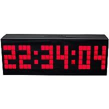 LambTown Reloj Grande de la Pared del LED con Múltiples Alarmas Calendario Temperatura Luz de Noche