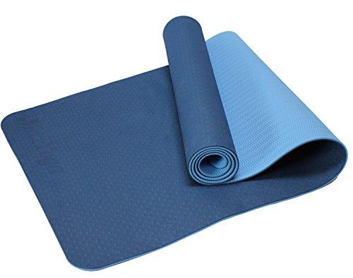 MaxYoga Esterilla para Yoga / Pilates / Gimnasia de material ecológico TPE. Yoga Colchoneta Esterilla Antideslizante y ligero con grosor de 6mm, tamaño 183cm x 61cm. -Azul Oscuro