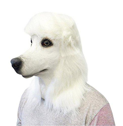 Kostümtierhundekopf -Maske aus Latex Pudelhund für Halloween-Abendkleid