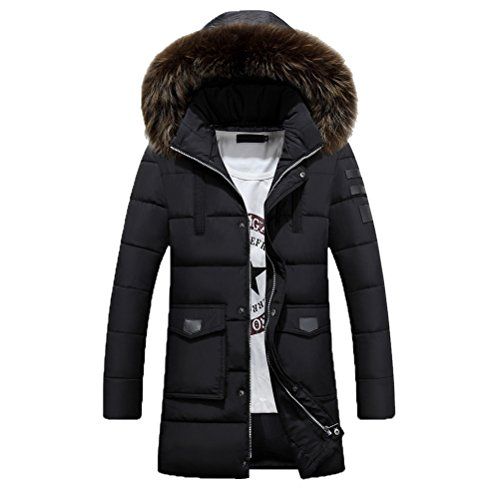 Zhuhaitf Winter Mens Long Coats Hooded Outerwear Plus Thicken Down Jackets Coats Black