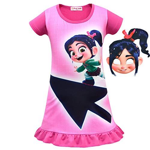 QYS Mädchen Kleid für Wrack-Es Ralph Vanellope Baby Sugar Rush Party Dress Up Kostüme Pyjama Nachthemd mit Maske,Rosered,100cm